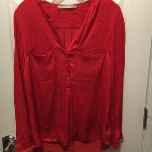 Zara reddish orange blouse